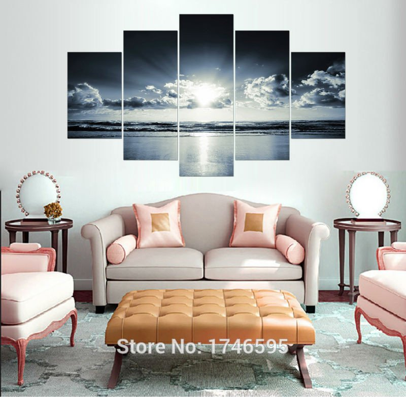 Big Wall Decor Living Room New Big Size Modern Home Decor Painting White Black Ocean