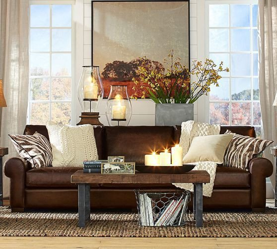 Brown Furniture Living Room Decor Lovely Turner Leather sofa Pottery Barn Google Search