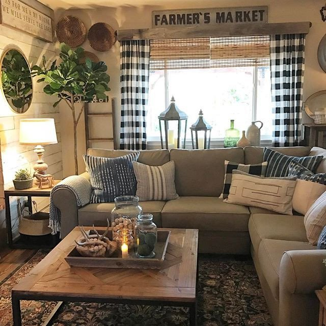 Country themed Living Room Decor Unique Cozy Room with Buffalo Check Curtains