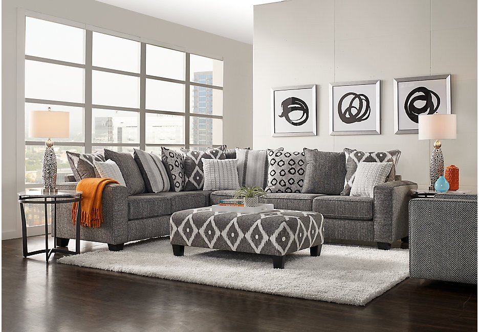 Grey Couch Living Room Decor Beautiful Carole Court Gray 3 Pc Sectional Living Room Living Room