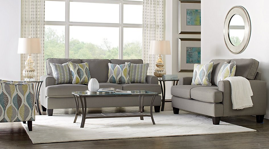 Grey sofa Living Room Decor Inspirational Cypress Gardens Gray 7 Pc Living Room Living Room Sets