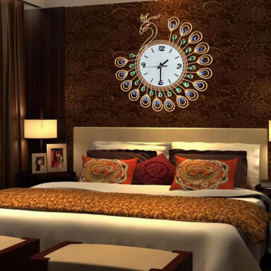 Large Living Room Wall Decor Inspirational Cu3 Luxury Diamond Peacock Wall Clocks Metal Living