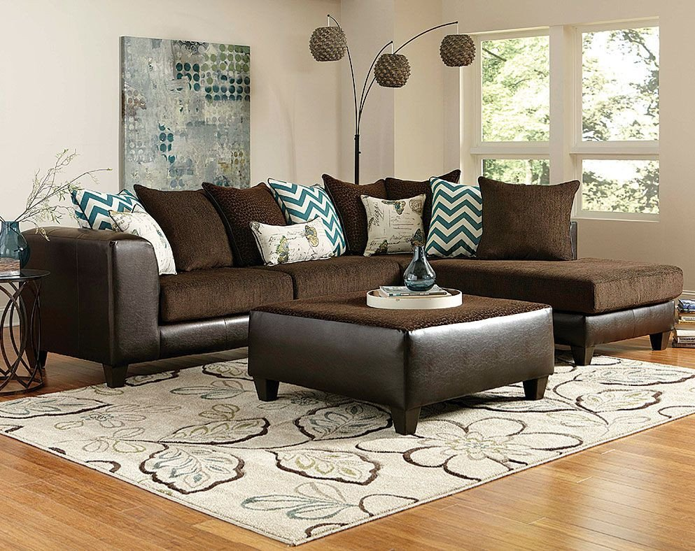 Living Room Decor with Sectional Luxury Brown Wrap Around Couch