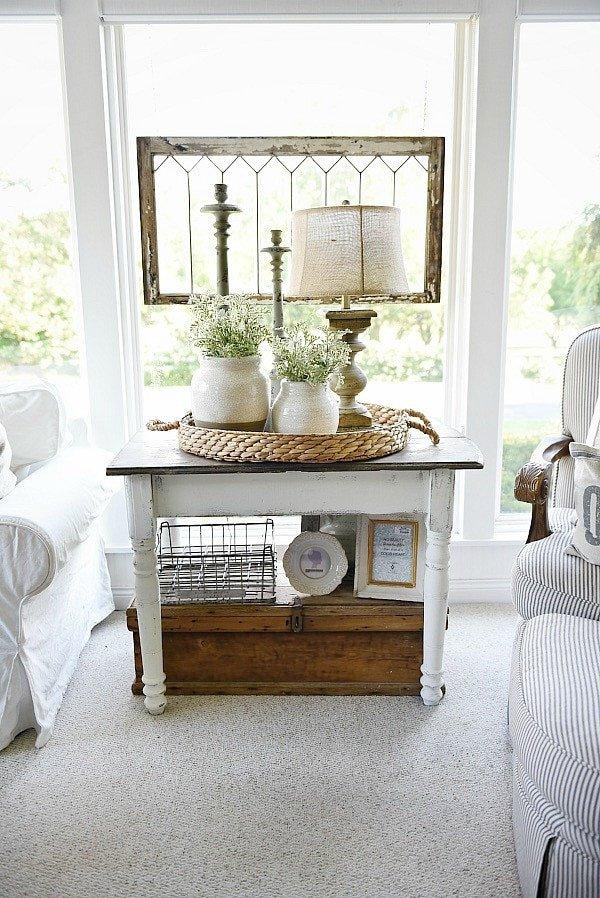 Living Room End Table Decor Beautiful White Farmhouse End Table
