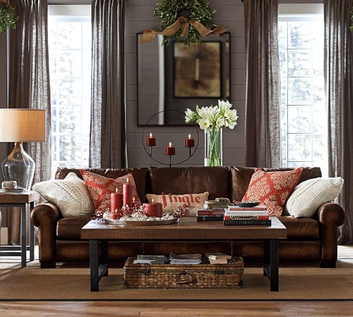 Living Room Ideas Pottery Barn Unique Turner Leather Roll Arm sofa
