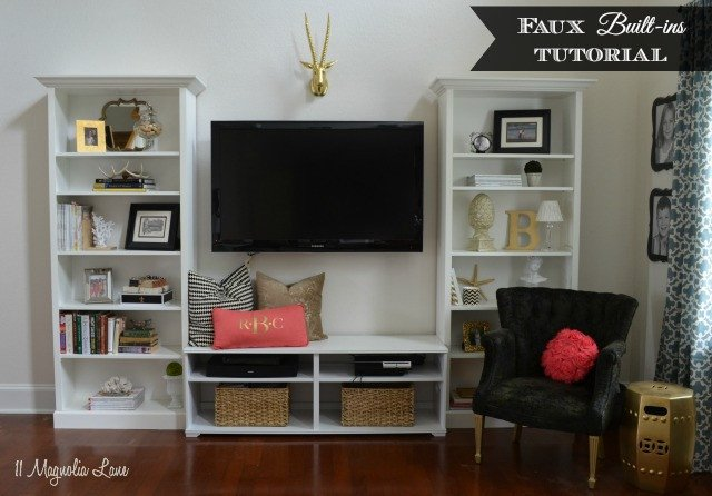"""Living Room Ideas Shelves Elegant """"faux"""" Built In Living Room Shelves Tutorial"""