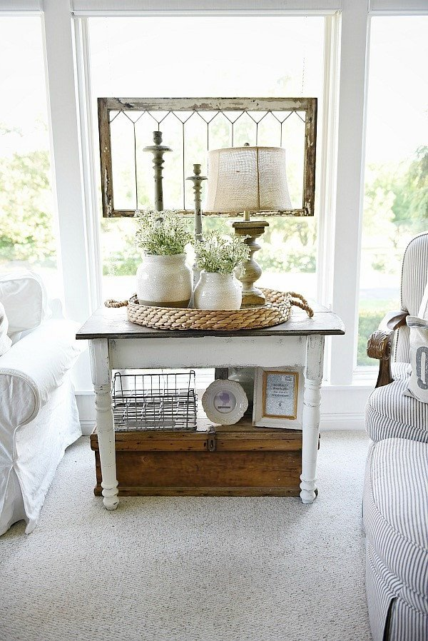 Living Room Side Table Decor Elegant White Farmhouse End Table