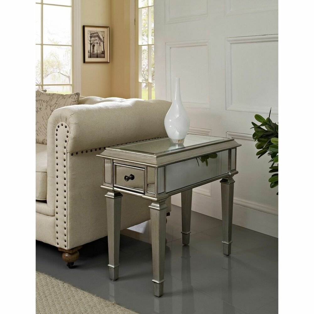 "Living Room Side Table Decor Luxury Home Bethany Mirrored ""side Table"" Furniture Living Room"