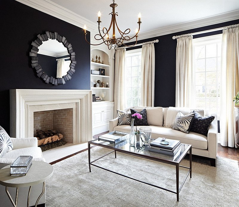 Navy Blue Living Room Decor Elegant Black and White Living Rooms Design Ideas
