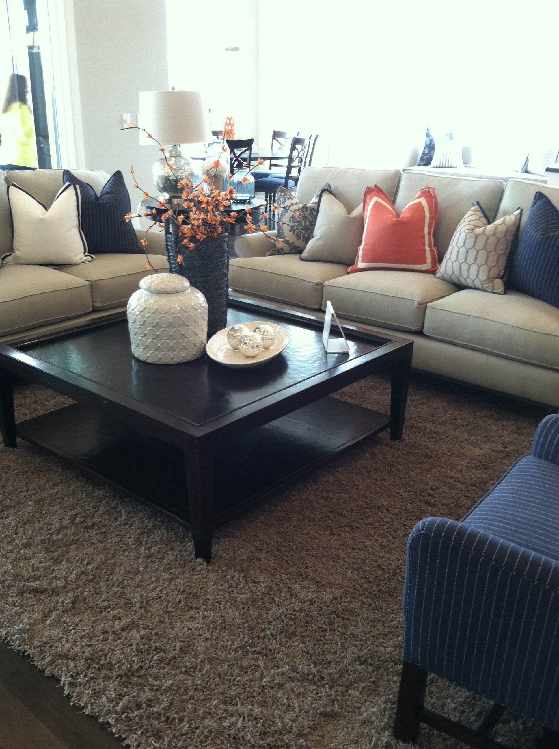 Navy Blue Living Room Decor Elegant orange and Navy Blue Accent for Family Room Looks so