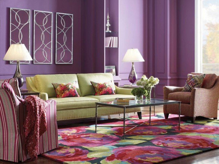 Purple Wall Decor Living Room Elegant 18 Purple Living Room Designs Ideas