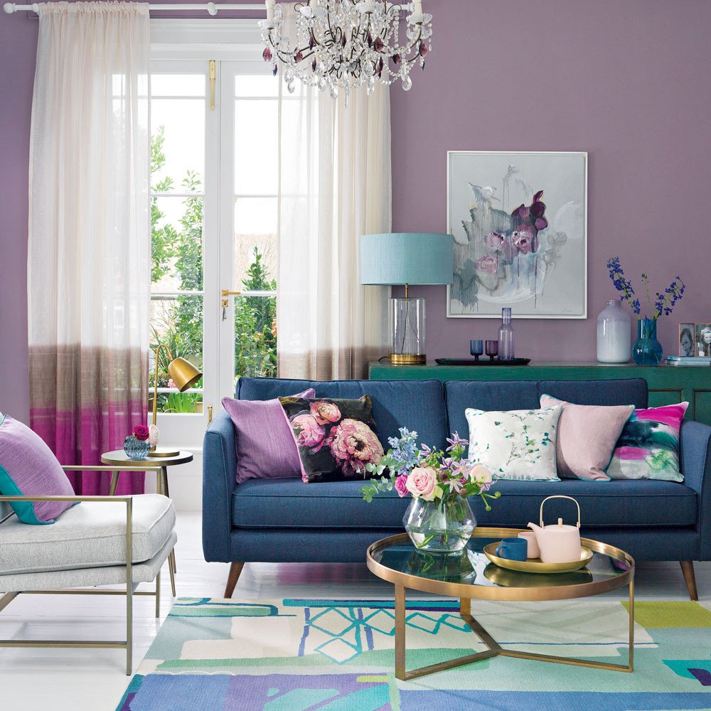 Purple Wall Decor Living Room Elegant Purple Living Room Ideas