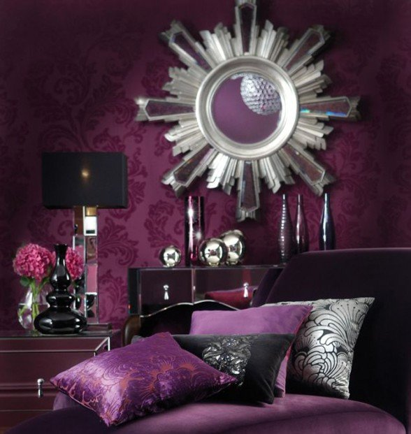 Purple Wall Decor Living Room New Beauty Houses Purple Interior Designs Living Room
