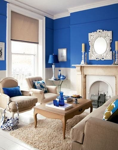 Royal Blue Living Room Decor Fresh Royal Blue Tan & White Living Room