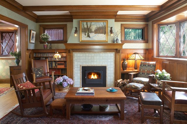 Arts and Crafts Home Decor Luxury Arts & Crafts Fireplace Traditional Family Room Minneapolis by Trehus Architects