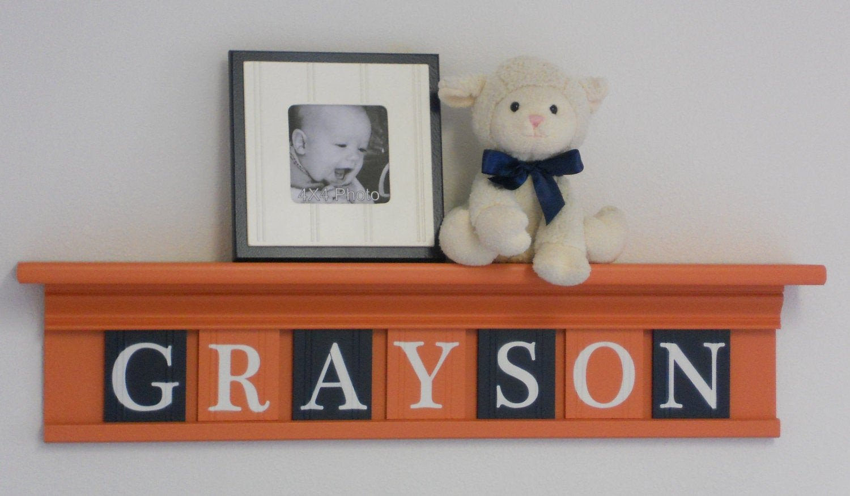 Baby Boy Nursery Wall Decor Fresh orange and Navy Baby Boy Nursery Wall Decor Custom Name