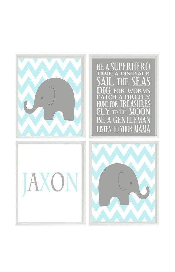 Baby Boy Nursery Wall Decor Lovely Baby Boy Nursery Art Elephant Chevron Gray Aqua Wall Art Name