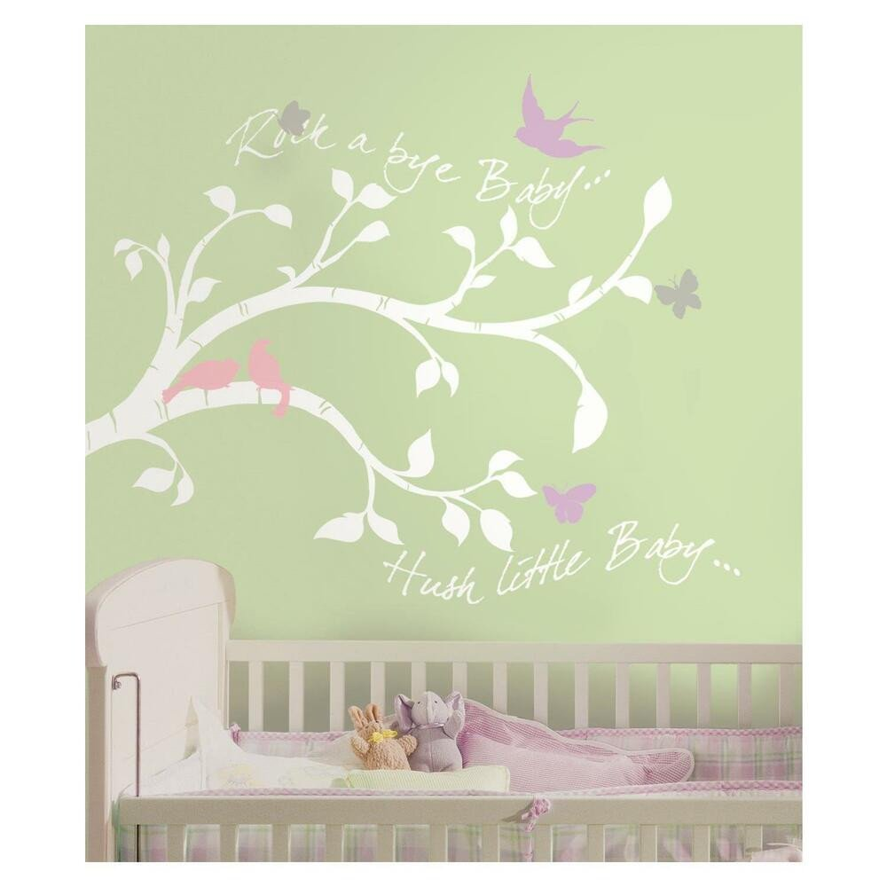 Baby Girl Room Wall Decor Luxury White Tree Branches Wall Decals Girl or Boy Nursery Stickers Baby Room Decor