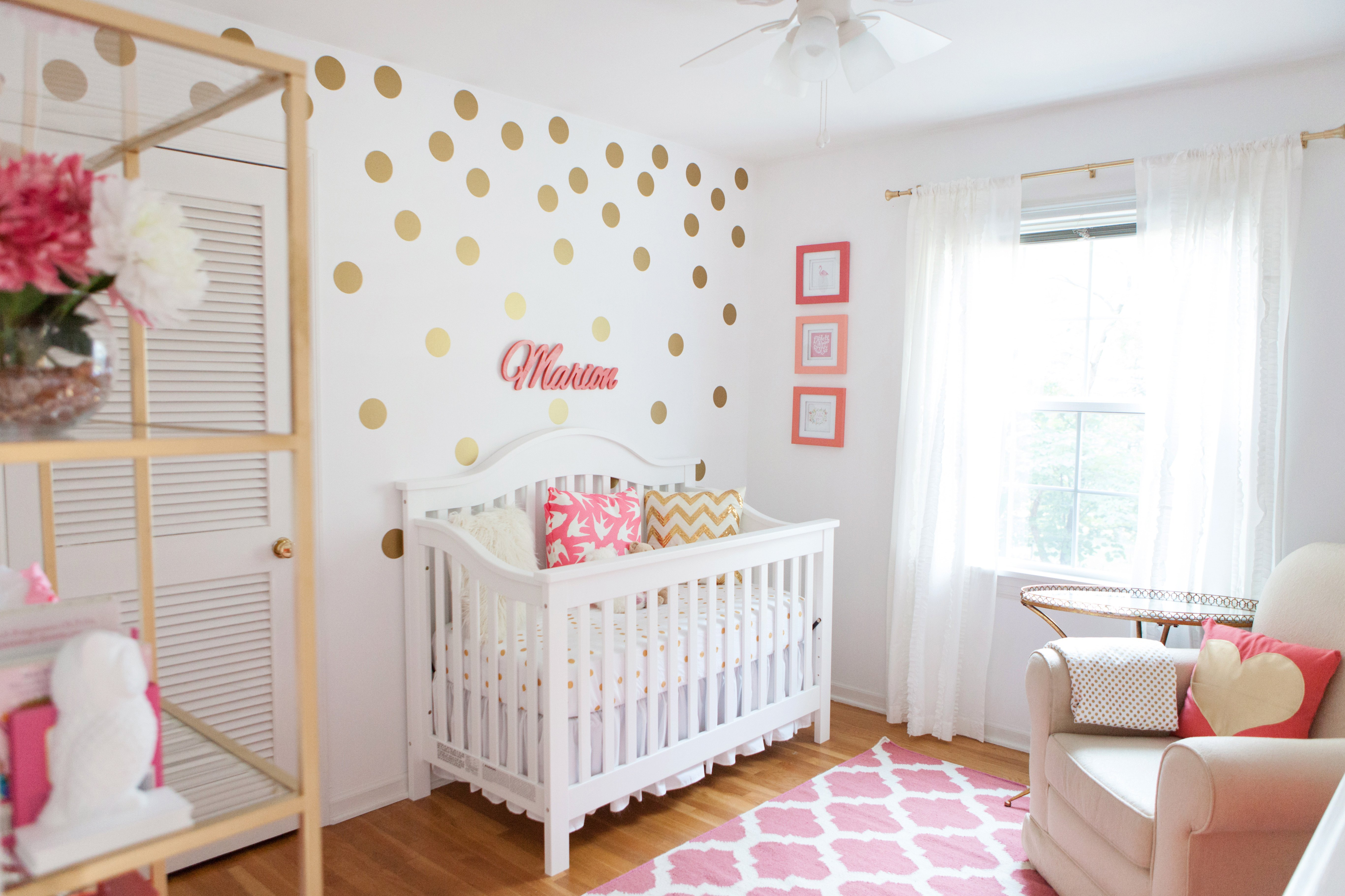 Baby Girls Room Decor Ideas Elegant Marion S Coral and Gold Polka Dot Nursery Project Nursery