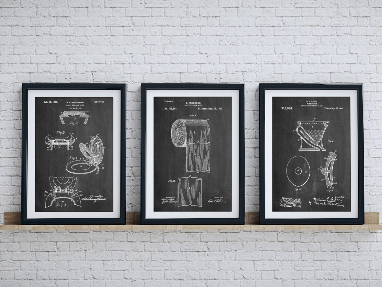 Bathroom Wall Art and Decor Unique Bathroom Art Patent Posters Group Of 3 Bathroom Wall Decor