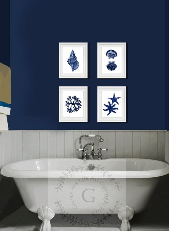Beach themed Bathroom Wall Decor Lovely Artwork Set Of 4 Navy Blue Colored Beach themed Decor Art Prints Name Of This Set is Sealife