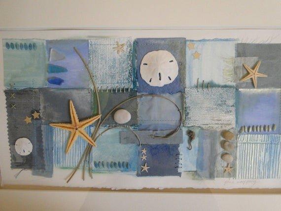 Items similar to Mixed Media Collage Beach Themed Wall Décor Original Aqua Sea Glass