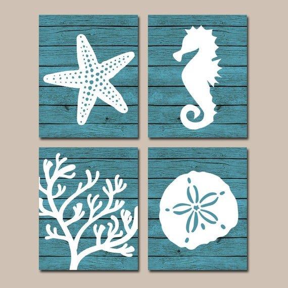 Beach Wall Decor for Bathroom Awesome Beach Bathroom Wall Art Canvas or Prints Nautical Coastal