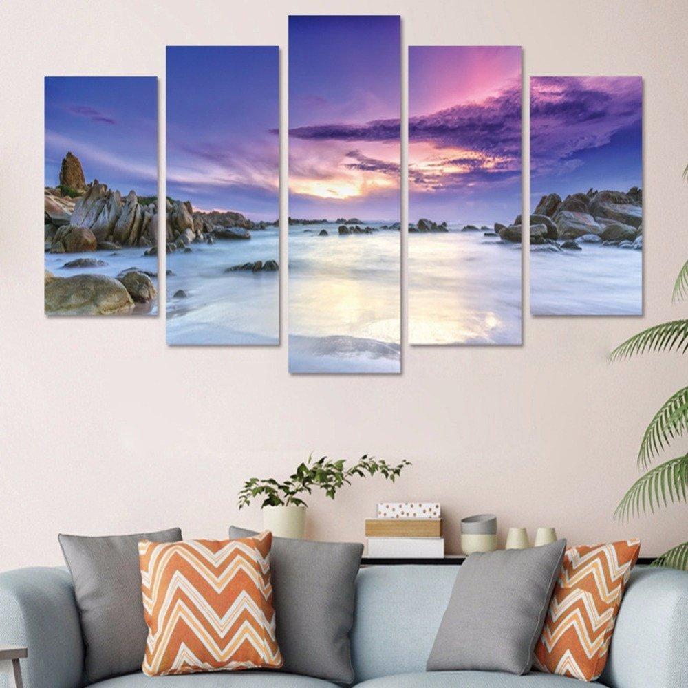 Beach Wall Decor for Bedroom Fresh New 5pcs Set Purple Sky Beach Bination 3d Diy Wall Stickers Home Decor Bedroom Landscape