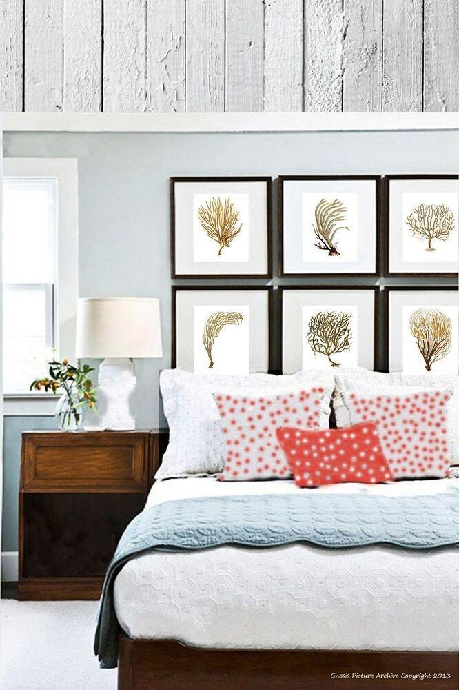 Wall hanging beach decor Set of 6 Sea Coral art prints neutral nautical decor