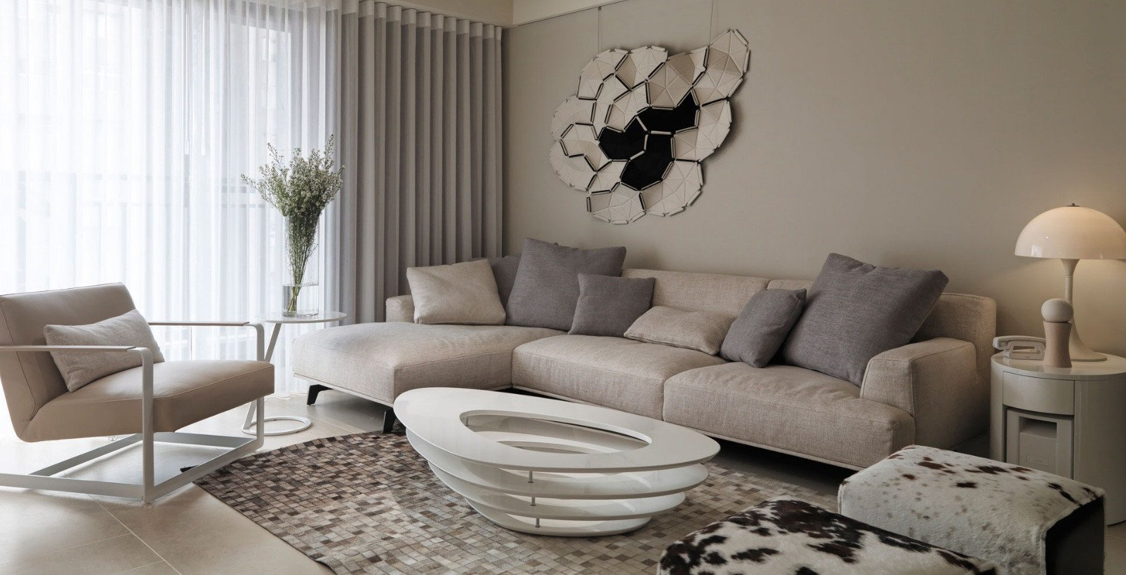 Beige Modern Living Room Decorating Ideas Elegant Neutral Contemporary Apartment by W C H Design Studio