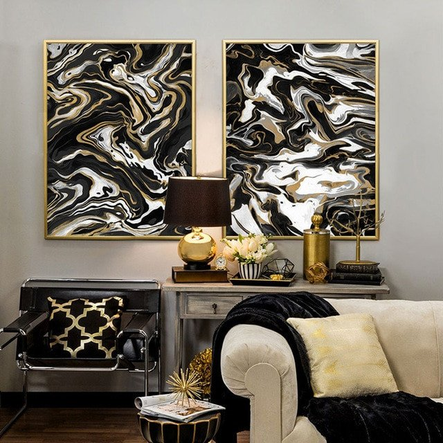 Black and Gold Home Decor Unique Black and White Gold nordic Poster Modern Home Decor Wall Canvas Art Abstract Print Pictures for