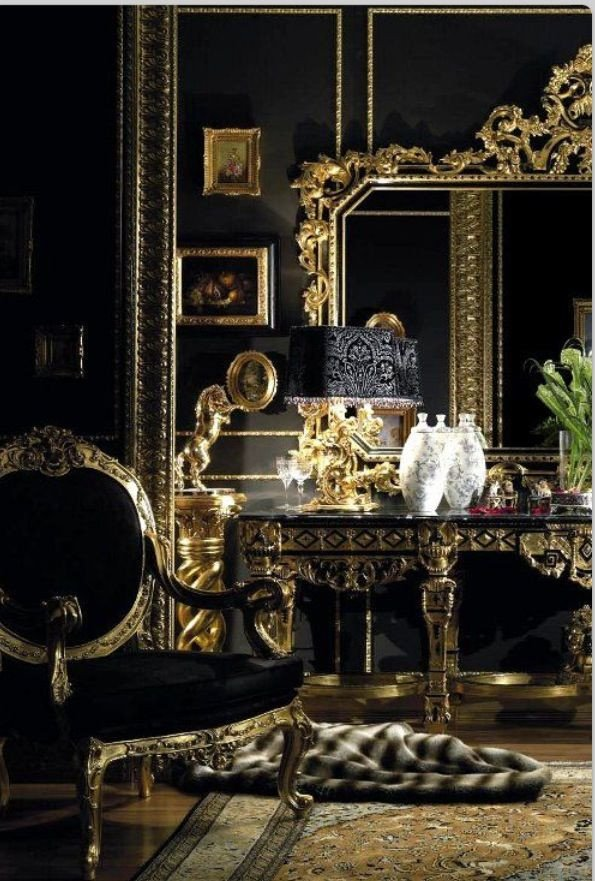 Black and gold room Black and Gold