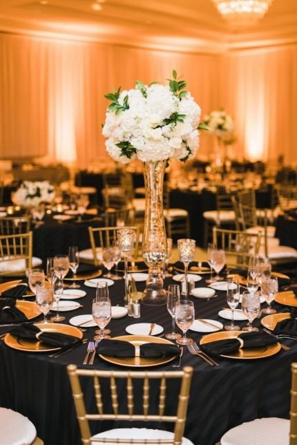 Black and Gold Wedding Decor Best Of Black Gold and White Wedding Reception Decor Hydrangea Centerpieces with Black Striped Linens
