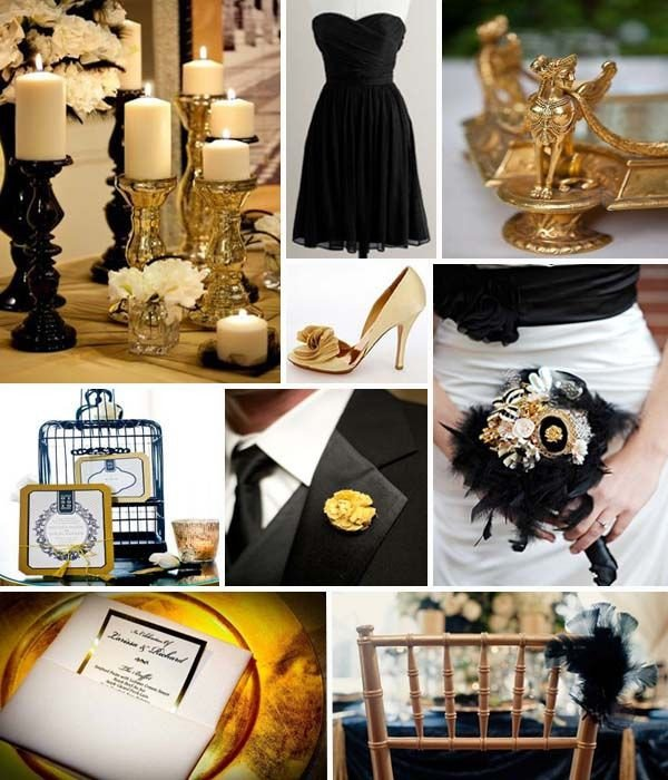 Black and Gold Wedding Decor Elegant Swashbuckle the Aisle High Glamor Inspiration A Black and Gold Wedding