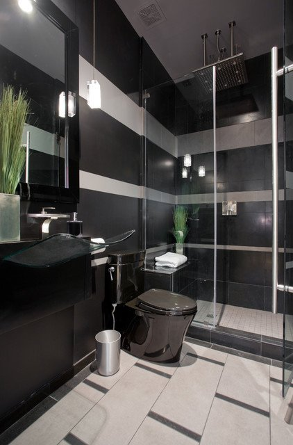 Black and Gray Bathroom Decor Inspirational Black and Gray Striped Contemporary Bathroom Contemporary Bathroom Phoenix by Chris