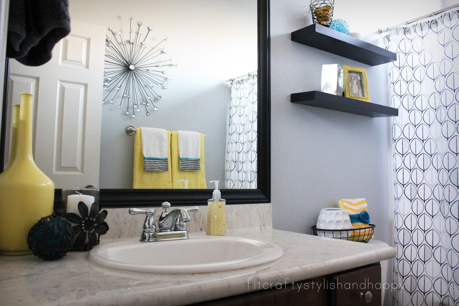 Black and Grey Bathroom Decor Awesome Fit Crafty Stylish and Happy Guest Bathroom Makeover