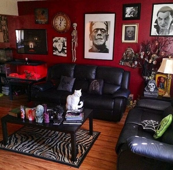 Black and Red Home Decor Awesome Interior Design Home Decor Home Accessories Rooms Living Rooms Gothic Goth Horror Black