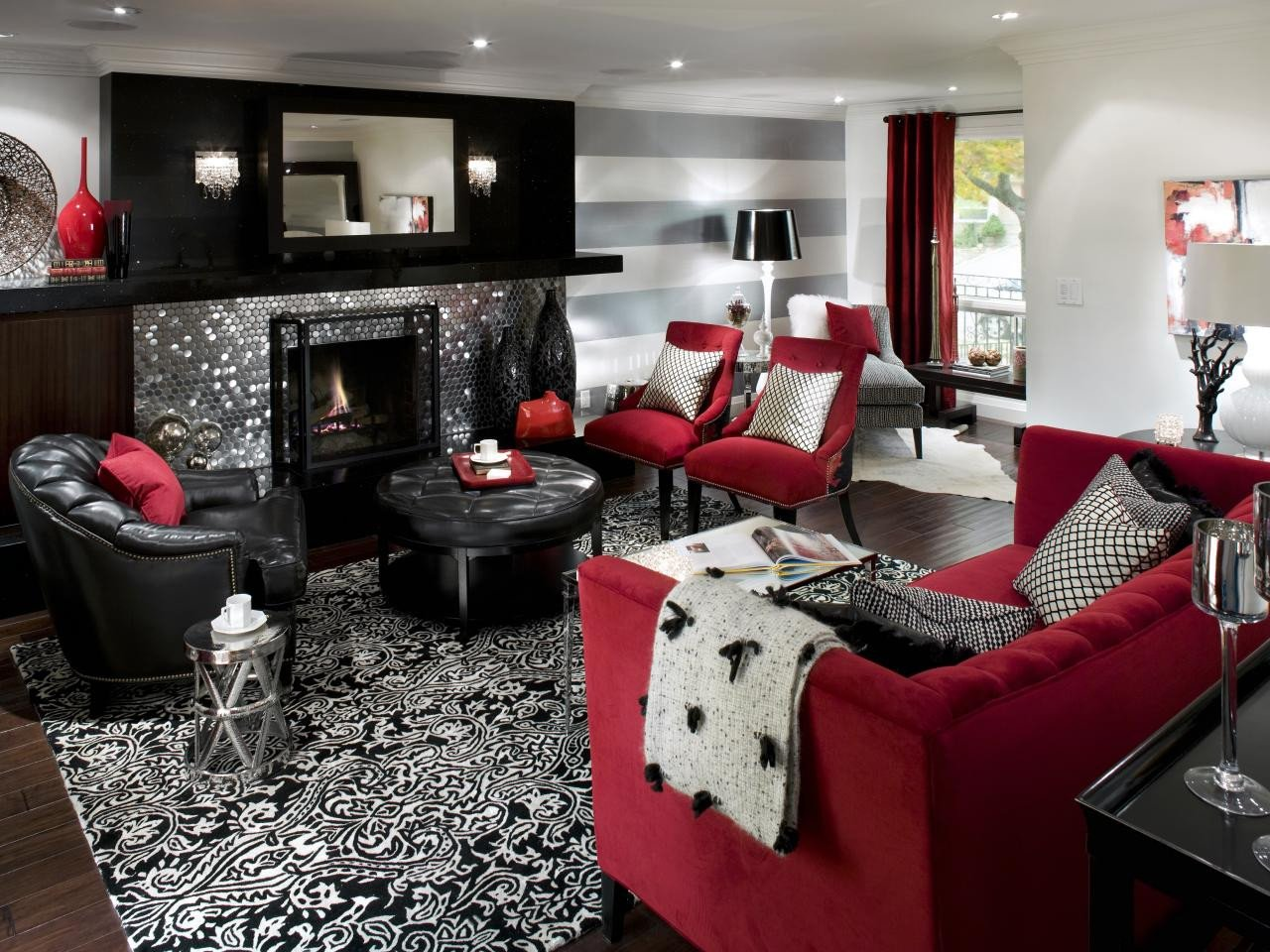 Black and Red Home Decor Elegant Retro Red Black and White Family Room