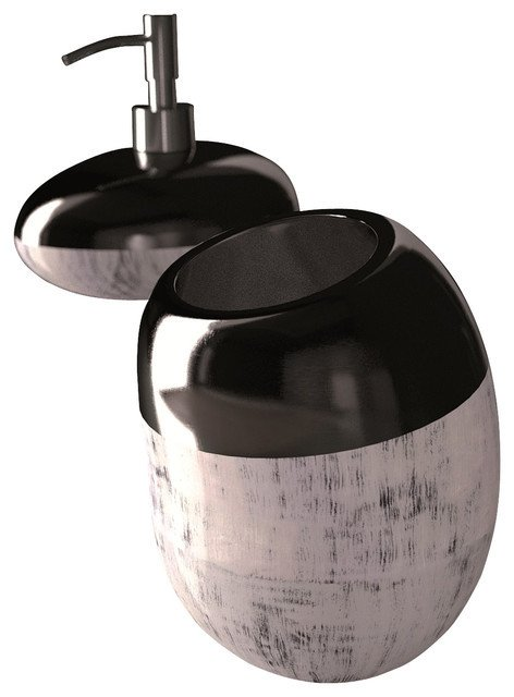Black and Silver Bathroom Decor Beautiful Glamour Bathroom Accessory Set Black Silver Modern Bathroom Accessory Sets Other by
