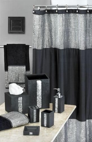 Black and Silver Bathroom Decor Elegant Vegas Style Bathroom Caprice Black Shower Curtain W Sequins Wooohoo • Home Decor