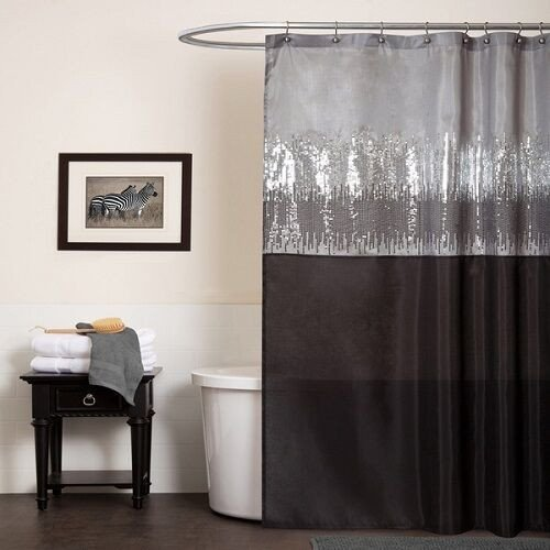 Black and Silver Bathroom Decor Fresh Silver Black Shower Curtain Gray Shimmer Bathroom Home Decor Fabric Bath Glitter