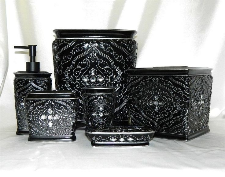 Black and Silver Bathroom Decor Luxury Francesca 6 Pc Bath Accessory Set Black Silver Rhinestone W Wastebasket & Tissue
