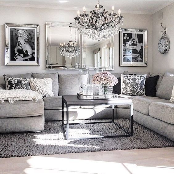 Black and Silver Home Decor Inspirational Living Room Decor Ideas Glamorous Chic In Grey and Pink Color Palette with Sectional sofa