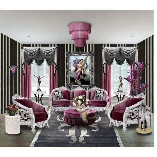 """Black and Silver Home Decor Inspirational """"living Room 20 Purple Black and Silver"""" by Ve Cher On Polyvore"""