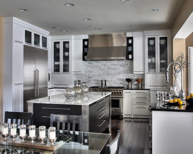 Black and Silver Kitchen Decor Elegant Stunning White Contemporary Kitchen Other Metro by Capitol Design Llc