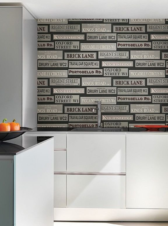Black and Silver Kitchen Decor Lovely Black and Silver Street Signs Contemporary Wallpaper Kitchen & Bath Resource Vol Iii