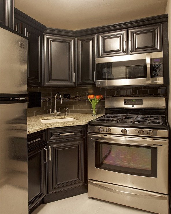 Black and Silver Kitchen Decor New Corner Sink Contemporary Kitchen Benjamin Moore Cedar Key Marie Burgos Design