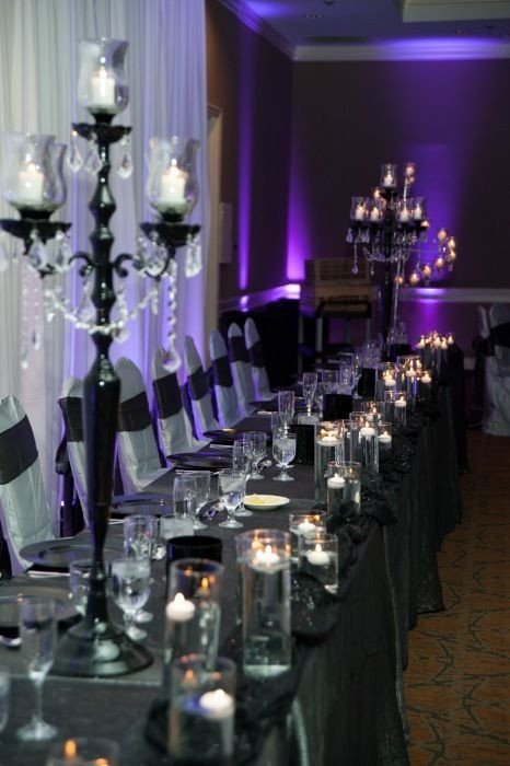 Black and Silver Table Decor Beautiful Silver Black and Purples Wedding Table Decor Detail Shots Pinterest