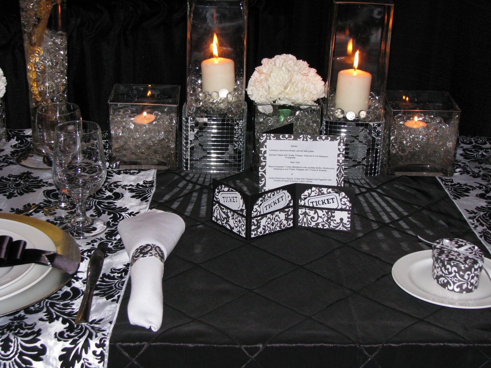 Black and Silver Table Decor Beautiful Special Moments Decorating Design Black & White Damask with Silver
