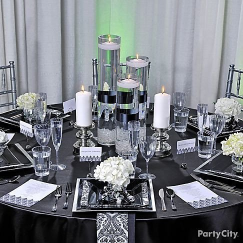 Black and Silver Table Decor Elegant Black White Red Gold Reception Decorations